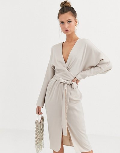 Oro donna Vestito midi in raso con maniche ad ali di pipistrello con vita a portafoglio - ASOS DESIGN - Oro