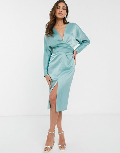 Eleganti longuette Blu donna Vestito midi in raso con maniche ad ali di pipistrello con vita a portafoglio - ASOS DESIGN - Blu