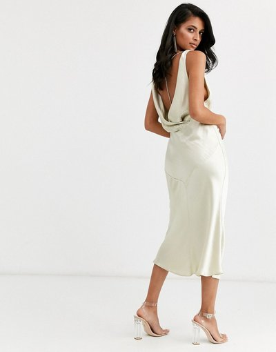 Crema donna Vestito midi in raso con taglio in sbieco e scollo ad anello e strass sul retro - ASOS DESIGN - Crema