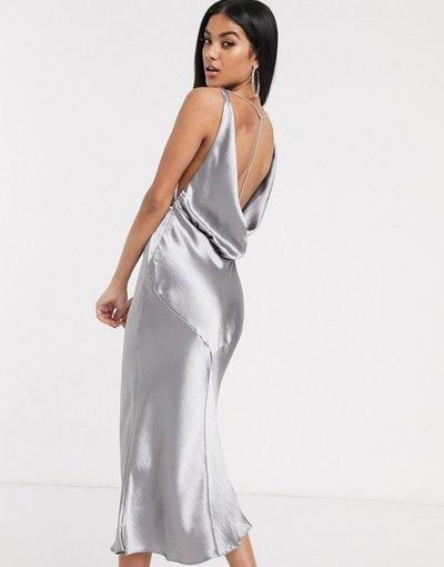 Grigio donna Vestito midi in raso con taglio in sbieco e scollo ad anello e strass sul retro - ASOS DESIGN - Grigio