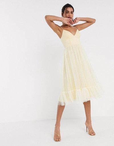 Giallo donna Vestito midi in tessuto a rete e tulle a pois con spalline sottili limone - ASOS DESIGN - Giallo