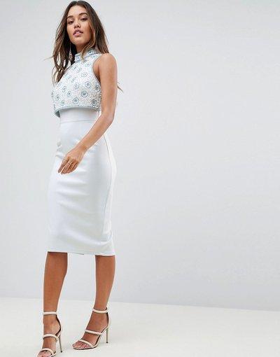 Blu donna Vestito midi in tessuto scuba con top corto decorato - ASOS DESIGN - Blu