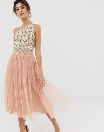 Verde donna Vestito midi in tulle decorato - ASOS DESIGN - Verde