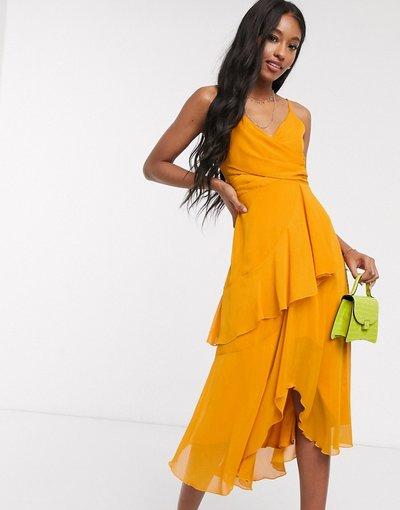 Arancione donna Vestito midi morbido a strati giallo girasole con spalline sottili - ASOS DESIGN - Arancione