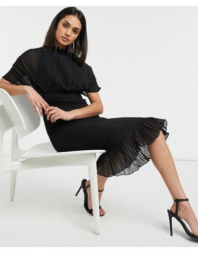 Crema donna Vestito midi nero sblusato a pieghe con gonna arricciata - ASOS DESIGN - Crema