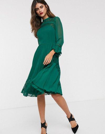 Verde donna Vestito midi skater a maniche lunghe con inserti in pizzo - ASOS DESIGN - Verde