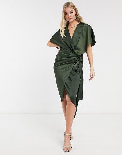 Eleganti longuette Verde donna Vestito midi stile kimono a portafoglio allacciato in vita - ASOS DESIGN - Verde