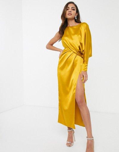 Oro donna Vestito monospalla con gonna al polpaccio - ASOS DESIGN - Oro