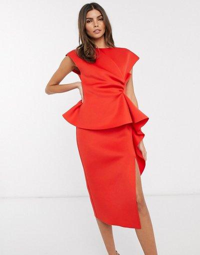 Eleganti longuette Rosso donna Vestito peplo midi longuette rosso con piccole pieghe - ASOS DESIGN