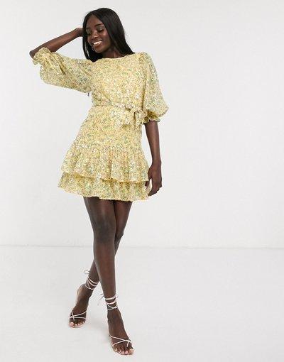 Eleganti gonna Multicolore donna Vestito skater corto a fiori con nodo in vita, laccetto sul retro e paillettes - ASOS DESIGN - Multicolore