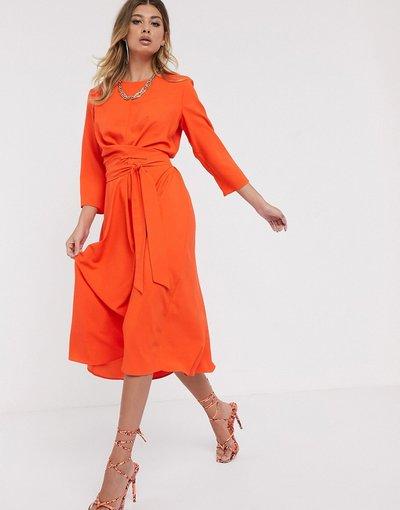Arancione donna Vestito skater midi a portafoglio arancione con allacciatura - ASOS DESIGN