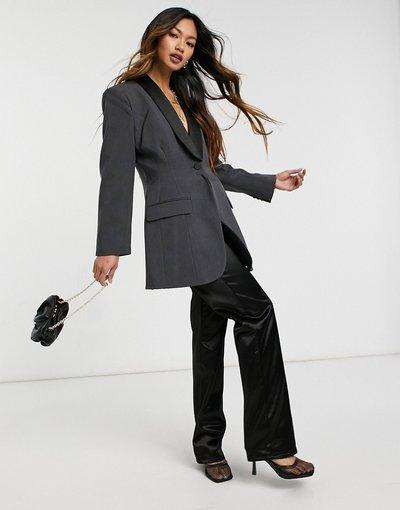 Grigio donna Vestito taglio lungo stile blazer antracite con fianchi sagomati - ASOS DESIGN - Grigio
