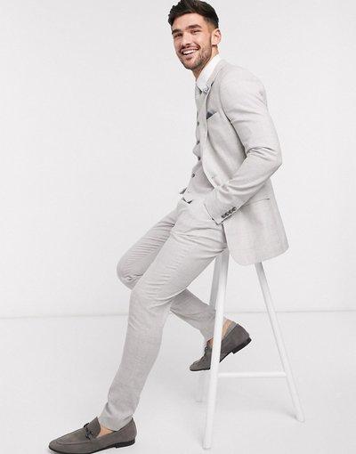 Novita Grigio uomo Pantaloni da abito super skinny in lino e cotone stretch grigio a quadri - ASOS DESIGN Wedding
