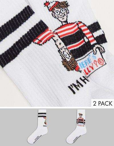 Intimo Bianco uomo Confezione da 2 paia di calzini bianchi con logo - Where's Wally - ASOS DESIGN - Bianco