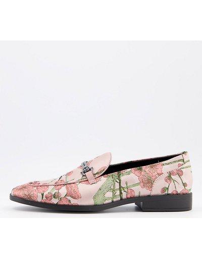 Scarpa elegante Rosa uomo Mocassini a pianta larga con stampa a fiori multicolore e morsetto - ASOS DESIGN Wide Fit - Rosa