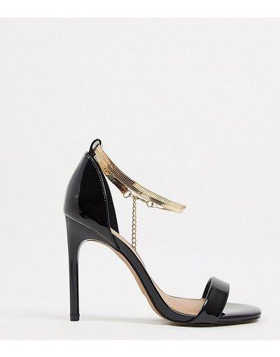Sandali Nero donna Sandali con tacco a pianta larga con cinturino con catena alla caviglia - ASOS DESIGN Wide Fit - Noah - Nero