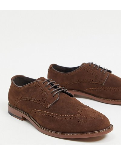Scarpa elegante Marrone uomo Scarpe brogue a pianta larga in camoscio sintetico marrone - ASOS DESIGN Wide Fit