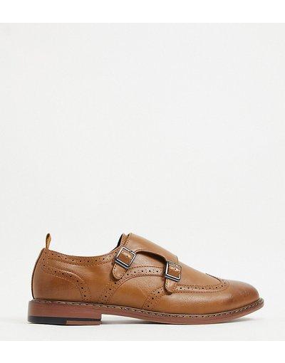 Scarpa elegante Marrone uomo Scarpe con fibbie a pianta larga in pelle sintetica marrone con doppio cinturino - ASOS DESIGN Wide Fit