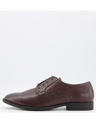 Scarpa elegante Marrone uomo Scarpe derby a pianta larga in pelle sintetica marrone - ASOS DESIGN Wide Fit