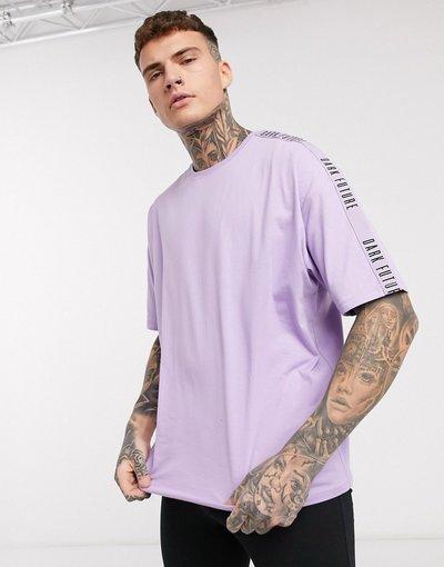 Pigiami Multicolore uomo shirt oversize lilla e nero con logo - ASOS DESIGN x Dark Future - Pigiama con meggings e T - Multicolore