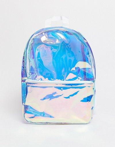 Borsa Argento uomo Zaino in plastica iridescente - ASOS DESIGN - Argento