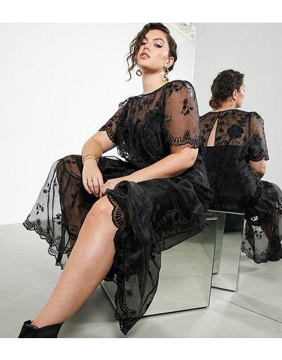 Nero donna Vestito grembiule in organza ricamato nero - ASOS EDITION Curve