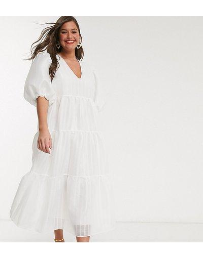 Bianco donna Vestito grembiule midi a balze a righe testurizzate - ASOS EDITION Curve - Bianco