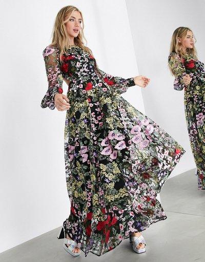 Multicolore donna Grazioso vestito lungo a fiori ricamati con apertura sul retro - ASOS EDITION - Multicolore