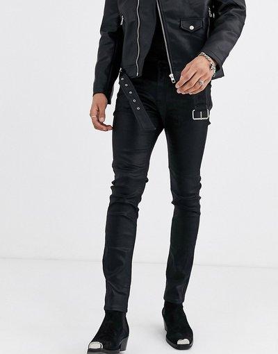 Jeans Nero uomo Jeans skinny neri in ecopelle rivestita con dettagli western - ASOS EDITION - Nero