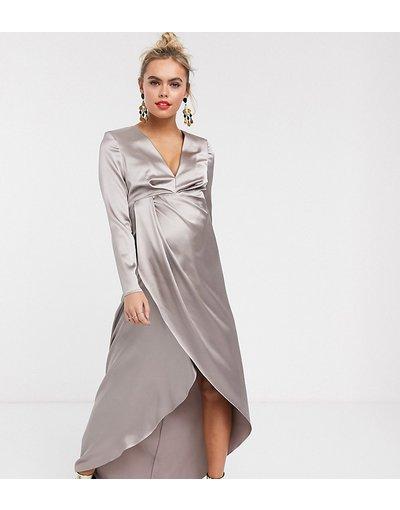 Argento donna Vestito lungo in raso con scollo profondo e spacco laterale - ASOS EDITION Maternity - Argento