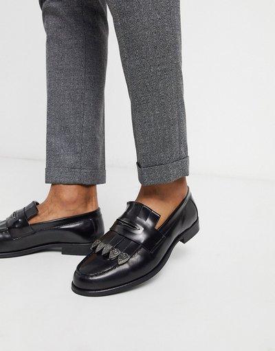 Scarpa elegante Nero uomo Mocassini in ecopelle nera effetto coccodrillo con inserti in metallo - ASOS EDITION - Nero