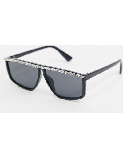Occhiali Nero uomo Occhiali da sole quadrati neri con ponte piatto con strass - ASOS EDITION - Nero