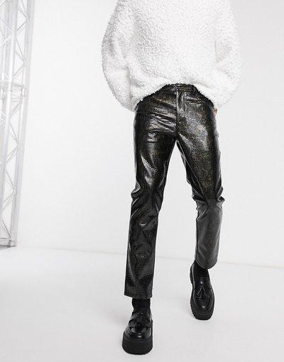 Nero uomo Pantaloni slim in vinile con stampa coccodrillo in coordinato - ASOS EDITION - Nero