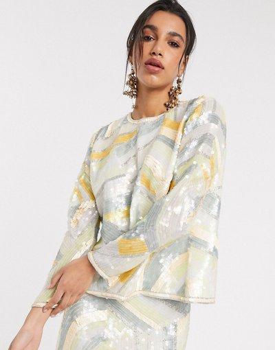 Camicia Multicolore donna Top con paillettes astratte e spacco posteriore in coordinato - ASOS EDITION - Multicolore