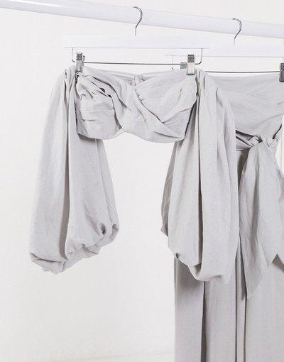 Eleganti pantaloni Grigio donna Top corto con maniche a campana grigio in coordinato - ASOS EDITION