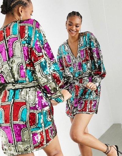 Multicolore donna Vestito corto a portafoglio con paillettes - ASOS EDITION - Multicolore