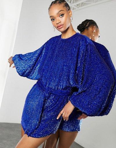 Blu donna Vestito corto oversize con maniche a campana e paillettes, colore blu reale - ASOS EDITION