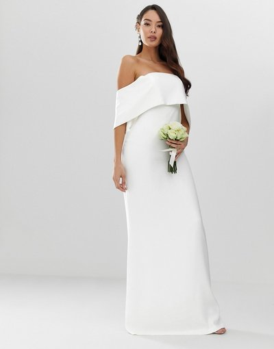 Bianco donna Vestito da sposa a colonna con spalle scoperte in crêpe - ASOS EDITION - Bianco