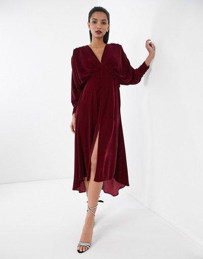 Rosso donna Vestito in velluto arricciato ad ali di pipistrello - ASOS EDITION - Rosso