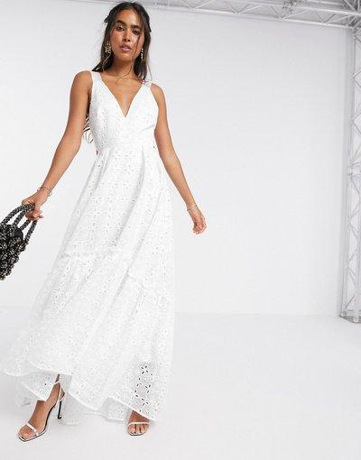 Bianco donna Vestito lungo a trapezio in pizzo luminoso - ASOS EDITION - Bianco