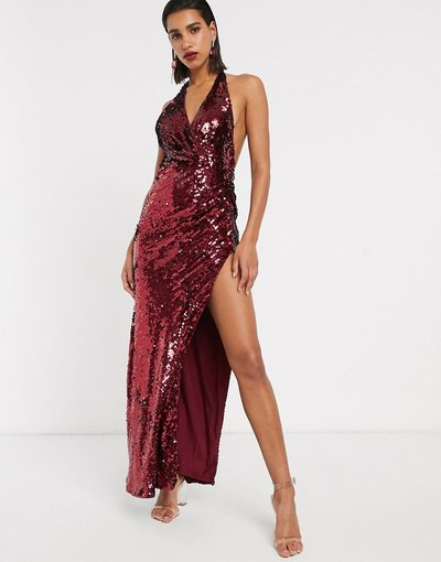 Eleganti lunghi Rosso donna Vestito lungo allacciato al collo con scollo profondo e paillettes - ASOS EDITION - Rosso