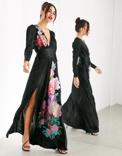 Nero donna Vestito lungo con cut - ASOS EDITION - out e ricamo - Nero