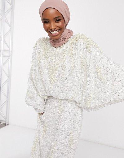 Bianco donna Vestito lungo con maniche ad ali di pipistrello e perle decorative bianco - ASOS EDITION