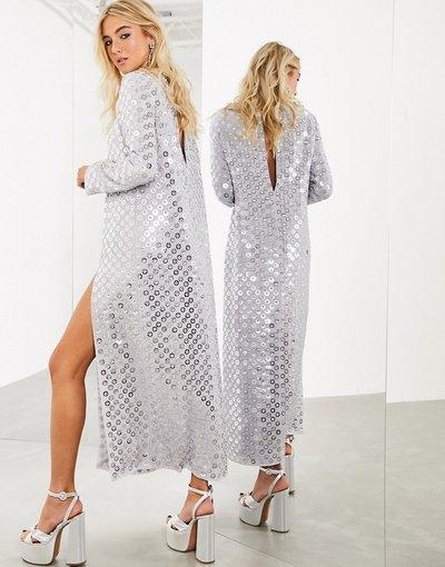 Grigio donna Vestito lungo con spacco sul davanti e paillettes a dischi a specchio - ASOS EDITION - Grigio