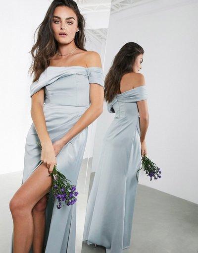 Blu donna Vestito lungo in raso a portafoglio drappeggiato con scollo alla Bardot blu ghiaccio - ASOS EDITION