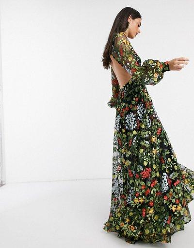 Multicolore donna Vestito lungo ricamato a fiori estivi con schiena scoperta - ASOS EDITION - Multicolore
