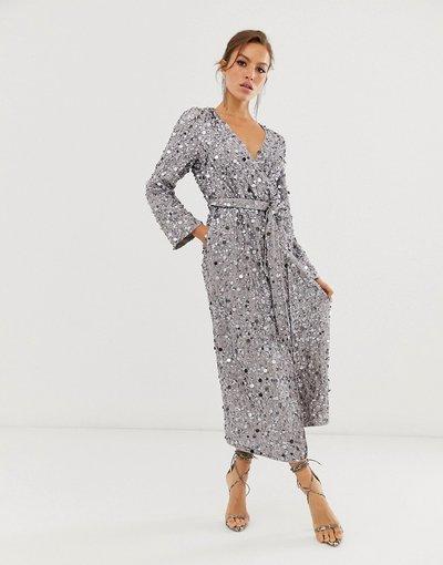 Grigio donna Vestito midi a portafoglio con paillettes a dischetto - ASOS EDITION - Grigio