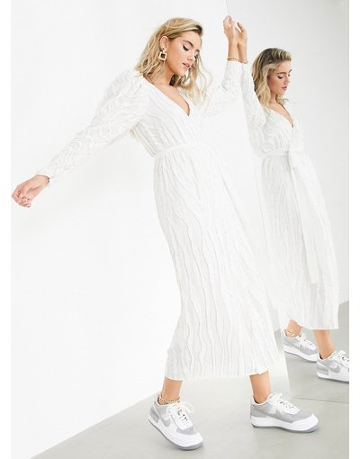 Bianco donna Vestito midi a portafoglio fantasia a righe di perline - ASOS EDITION - Bianco