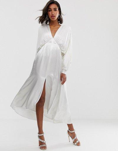 Bianco donna Vestito midi arricciato con maniche ad ali di pipistrello - ASOS EDITION - Bianco