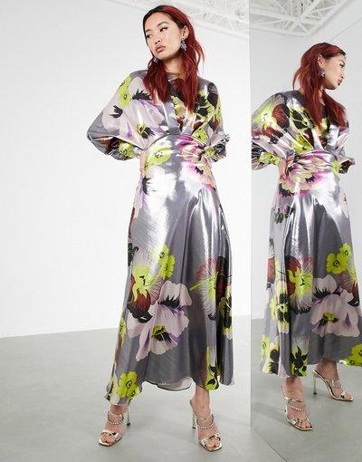 Argento donna Vestito midi con maniche a campana con stampa floreale argento metallico - ASOS EDITION